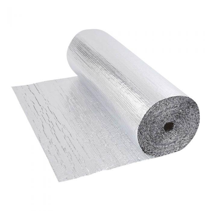 Isolante Termico Multistrato Doppio a Bolle d'Aria con Due Fogli di Alluminio - 25m x 1,2m