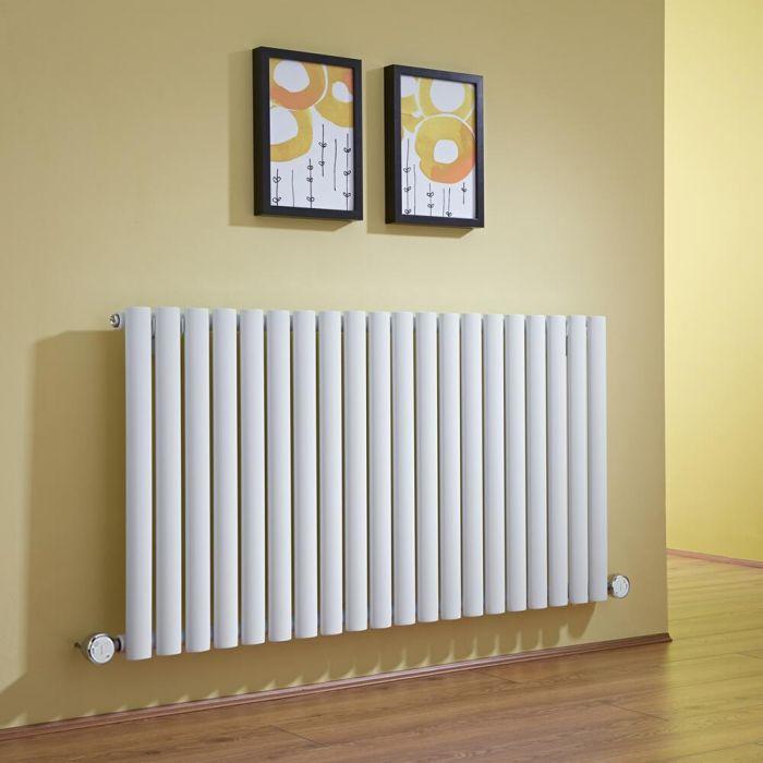 Radiatore di Design Elettrico Orizzontale - Bianco - 635mm x 1180mm x 56mm  - 2 Elementi Termostatici 800W  - Revive