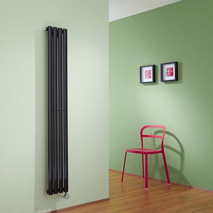 Radiatore di Design Elettrico Verticale - Nero Lucido - 1600mm x 236mm x 56mm - Elemento Termostatico 800W - Revive