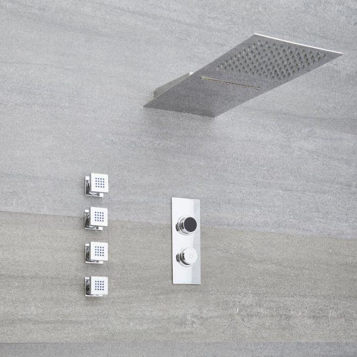 Doccia Digitale con Sistema di Controllo a 3 Vie con Soffione Effetto Pioggia e Cascata , 4 Idrogetti e Doccetta - Narus