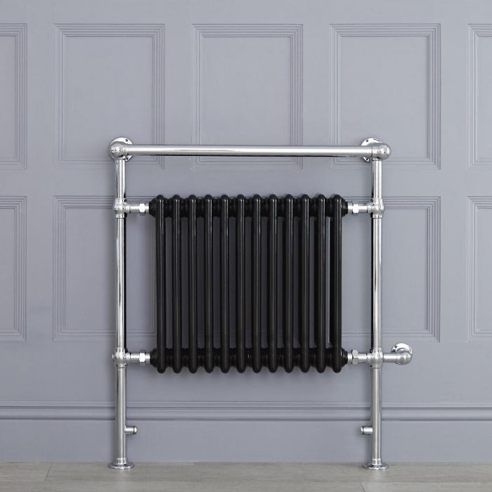Radiatore Scaldasalviette Elettrico Tradizionale - Elemento Elettrico 800 Watt - Nero - 930mm x 790mm (Barra Porta Salviette Angolare) - Avon