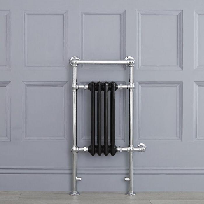 Radiatore Scaldasalviette Elettrico Tradizionale - Elemento Elettrico 400 Watt - Nero - 930mm x 450mm (Barra Porta Salviette Superiore) - Avon
