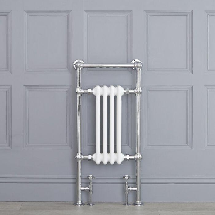 Radiatore Scaldasalviette Tradizionale - Cromato e Bianco - 930mm x 452mm - 430 Watt - Avon