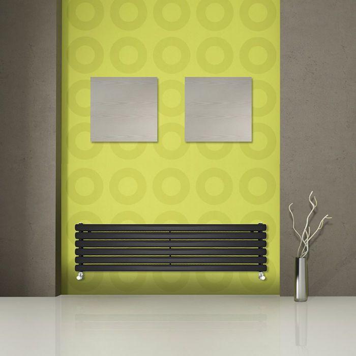Radiatore di Design Orizzontale Doppio - Nero Lucido - 354mm x 1780mm x 78mm - 1325 Watt - Revive