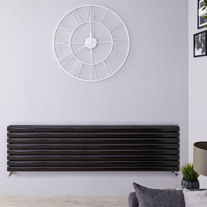Radiatore di Design Orizzontale Doppio - Nero Lucido - 472mm x 1780mm x 78mm - 1798 Watt - Revive