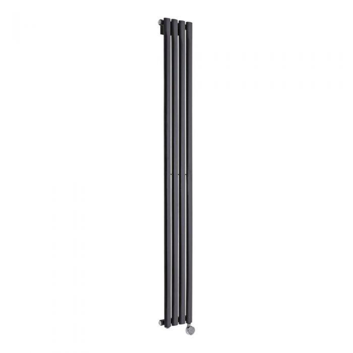Radiatore di Design Elettrico Verticale - Nero Lucido - 1780mm x 236mm x 56mm - Elemento Termostatico 800W - Revive