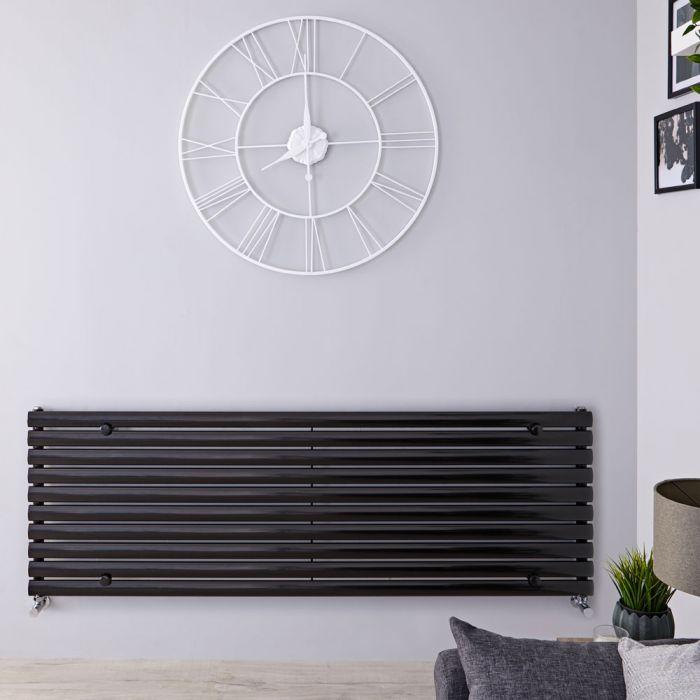 Radiatore di Design Orizzontale - Nero Lucido - 590mm x 1780mm x 55mm - 1476 Watt - Revive