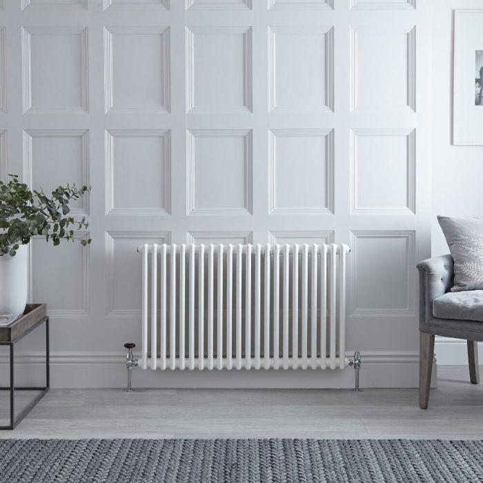 Radiatore di Design Orizzontale Doppio Tradizionale - Bianco - 600mm x 1010mm x 68mm - 1249 Watt - Regent