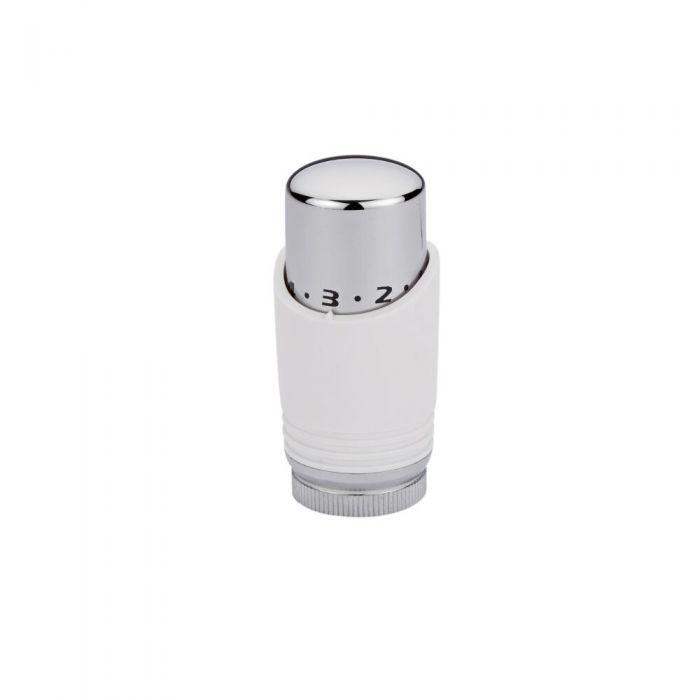 Testa Termostatica Bianca e Cromata per Radiatori e Scaldasalviette per Tubi in Rame 15mm