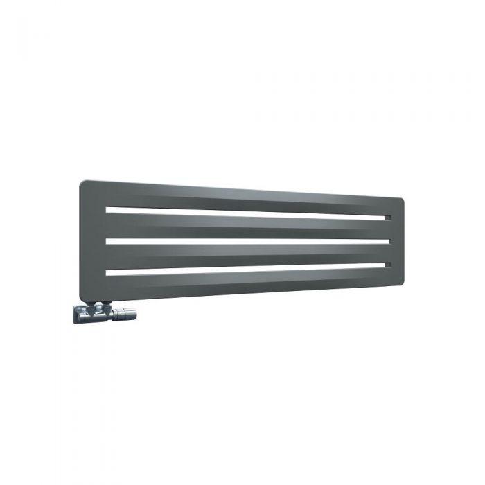 Radiatore di Design Orizzontale con Attacco Centrale - Colore Pietra – 325mm x 1200mm x 11mm - 1172 Watt - Leba