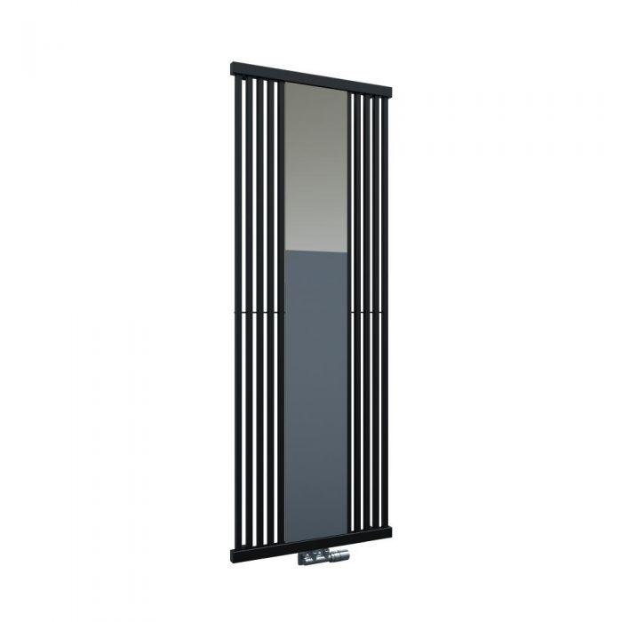 Radiatore di Design Verticale con Attacco Centrale - Con Specchio - Nero - 1700mm x 640mm x 60mm - 1172 Watt - Lublin