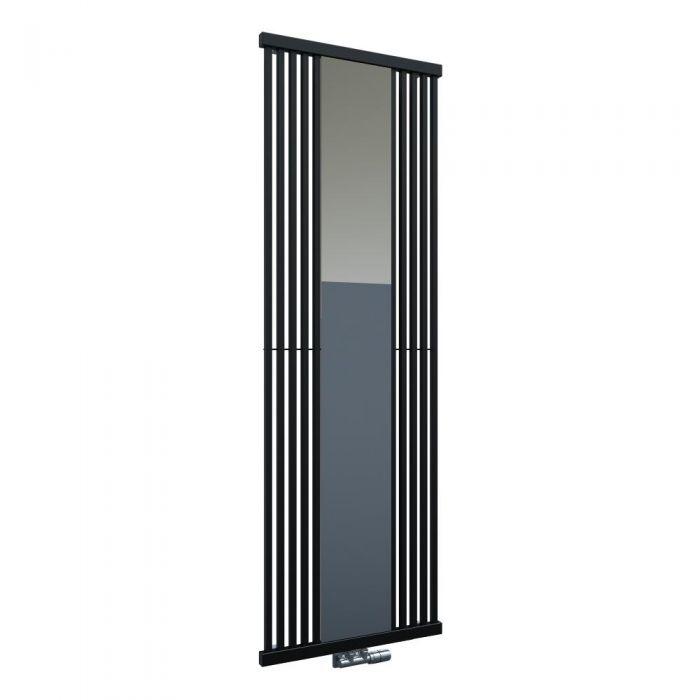 Radiatore di Design Verticale con Attacco Centrale - Con Specchio - Nero - 1900mm x 640mm x 60mm - 1172 Watt - Lublin