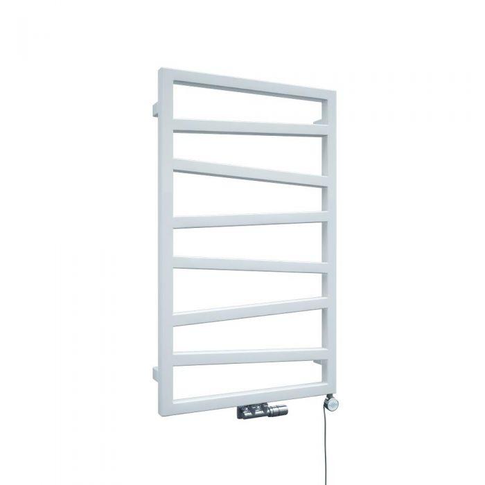 Scalasalviette di Design Verticale con Attacco Centrale - Bianco - 835mm x 500mm x 30mm - 405 Watt - Torun