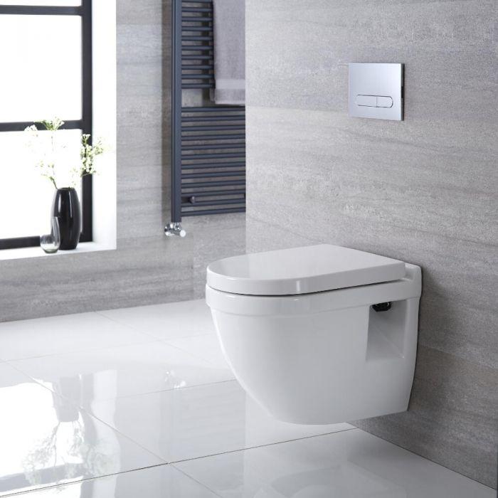 Sanitario Bagno WC Sospeso Ovale 400x360x515mm Completo di Sedile Copri WC Soft Close, Telaio per Cassetta ad Incasso con Placca di Comando per WC A Doppio Pulsante - Belstone