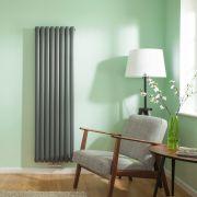 Radiatore di Design Verticale Doppio con Attacco Centrale - Antracite - 1600mm x 472mm x 78mm - 1718 Watt - Revive Caldae