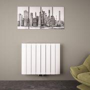 Radiatore di Design Orizzontale con Attacco Centrale - Alluminio - Bianco - 600mm x 755mm x 45mm - 1024 Watt - Aurora