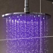 Soffione Doccia LED Orientabile Tondo in Acciaio Inox 300mm