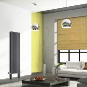 Radiatore di Design Verticale Doppio Con Piedini di Supporto - Antracite - 1800mm x 472mm x 78mm - 1638 Watt - Revive Plus