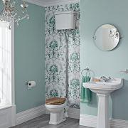 Sanitario Bagno Retro con Cassetta Alta in Stile Tradizionale con Scelta di Sedili Copri WC