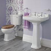 Set Bagno Completo di Lavabo e Sanitario in Stile Tradizionale con Scelta di Sedili Copri WC