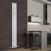 Radiatore di Design Verticale - Cromato - 1800mm x 225mm x 50mm - 334 Watt - Delta