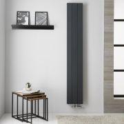 Radiatore di Design Verticale  Doppio con Attacco Centrale - Alluminio - Antracite - 1800mm x 280mm x 67mm - 1119 Watt - Kett