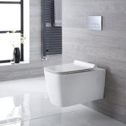 Sanitario Bagno WC Quadrato Sospeso 360x345x570mm con Sedile Copri WC Soft Close -  Sandford