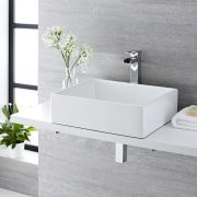 Lavabo Bagno da Appoggio Quadrato in Ceramica 490x390mm con Rubinetto Monoforo - Haldon