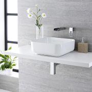 Lavabo Bagno da Appoggio Quadrato in Ceramica 400x400mm con Rubinetto a Cascata - Milton