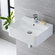 Lavabo Bagno Sospeso in Ceramica Rettangolare 520x420mm - Exton