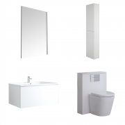 Mobile Bagno 800mm Colore Bianco Opaco Completo di Cassetta , Sanitario, Lavabo, Colonna Bagno Murale e Specchio - Newington