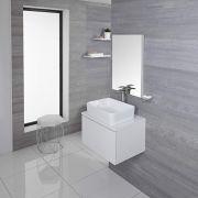 Mobile Bagno 600mm Colore Bianco Opaco con Lavabo da Appoggio Disponibile con Opzione LED - Newington