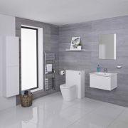 Mobile Bagno 600mm Colore Bianco Opaco Completo di Cassetta , Sanitario, Lavabo, Colonna Bagno Murale e Specchio Disponibile con Opzione LED - Newington  - Matt White