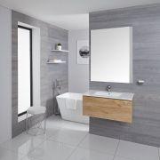 Mobile Bagno Murale 800mm con Lavabo Integrato Colore Rovere Dorato Disponibile con Opzione LED - Newington