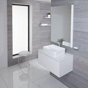 Mobile Bagno Murale 800mm Colore Bianco Opaco con Lavabo da Appoggio Disponibile con Opzione LED - Newington