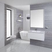 Mobile Bagno Murale 800mm con Lavabo Integrato Colore Bianco Opaco Disponibile con Opzione LED - Newington