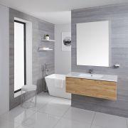 Mobile Bagno Murale 1000mm con Lavabo Integrato Colore Rovere Dorato - Newington