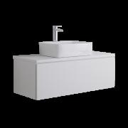 Mobile Bagno Murale 1000mm Colore Bianco Opaco con Lavabo da Appoggio - Newington