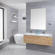 Mobile Bagno Murale 1200mm con 2 Lavabi Integrati Colore Rovere Dorato - Newington