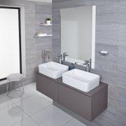 Mobile Bagno Murale 1200mm Colore Grigio Opaco con Lavabo da Appoggio Doppio Disponibile con Opzione LED - Newington