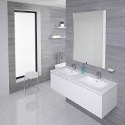 Mobile Bagno Murale 1200mm con 2 Lavabi Integrati Colore Bianco Opaco Disponibile con Opzione LED - Newington
