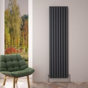 Radiatore di Design Verticale Doppio - Antracite - 1800mm x 470mm x 76mm - 2004 Watt - Revive Air