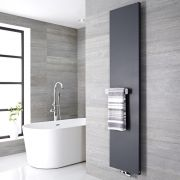 Radiatore di Design Verticale con Porta Asciugamani - Acciaio - Attacco Centrale - Antracite - 1820mm x 400mm x 40mm - 842 Watt – Rubi