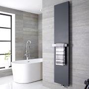Radiatore di Design Verticale con Porta Asciugamani - Acciaio - Attacco Centrale - Antracite - 1800mm x 500mm x 40mm - 1123 Watt - Rubi