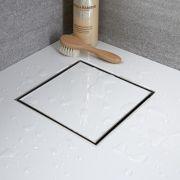 Kit Completo di Canaletta Doccia Quadrata e Griglia 200mm con Inserto Piastrellabile