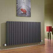 Radiatore di Design Elettrico Orizzontale - Antracite - 635mm x 1180mm x 53mm  - 2 Elementi Termostatici 600W  - Sloane