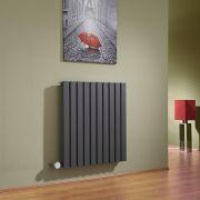 Radiatore di Design Elettrico Orizzontale - Antracite - 635mm x 600mm x 54mm  - Elemento Termostatico  800W  - Sloane