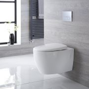 Sanitario Bagno WC Ovale Sospeso 360x385x580mm con Sedile Copri WC Soft Close  - Kenton