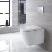Sanitario Bagno WC Ovale Sospeso 365x350x565mm con Sedile Copri WC Soft Close - Exton