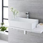 Lavabo Bagno da Appoggio Rettangolare in Ceramica 610x400mm con Rubinetto Monoforo - Haldon